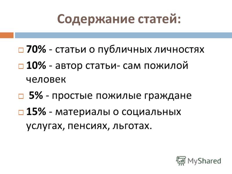 Содержание статей : 70% - статьи о публичных личностях 10% - автор статьи - сам пожилой человек 5% - простые пожилые граждане 15% - материалы о социальных услугах, пенсиях, льготах.