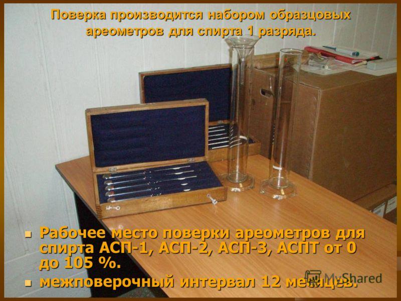 Поверка производится набором образцовых ареометров для спирта 1 разряда. Рабочее место поверки ареометров для спирта АСП-1, АСП-2, АСП-3, АСПТ от 0 до 105 %. Рабочее место поверки ареометров для спирта АСП-1, АСП-2, АСП-3, АСПТ от 0 до 105 %. межпове