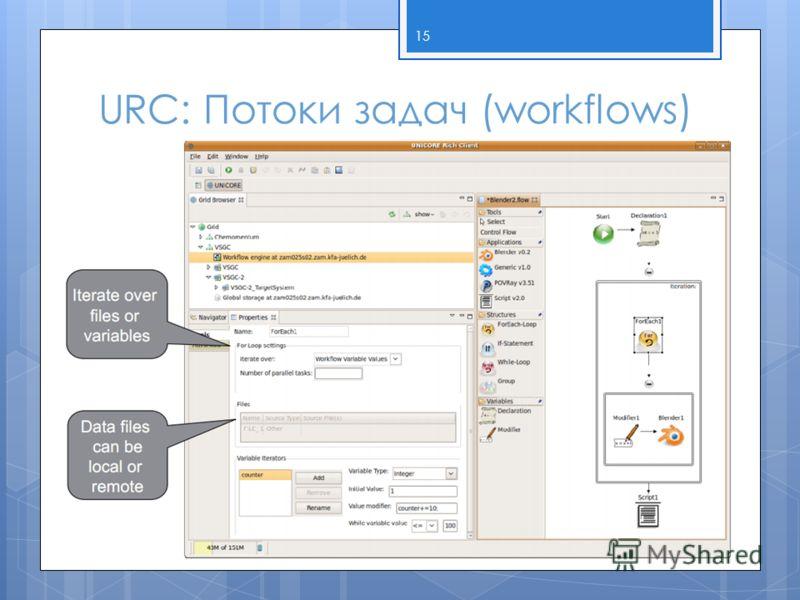 URC: Потоки задач (workflows) 15
