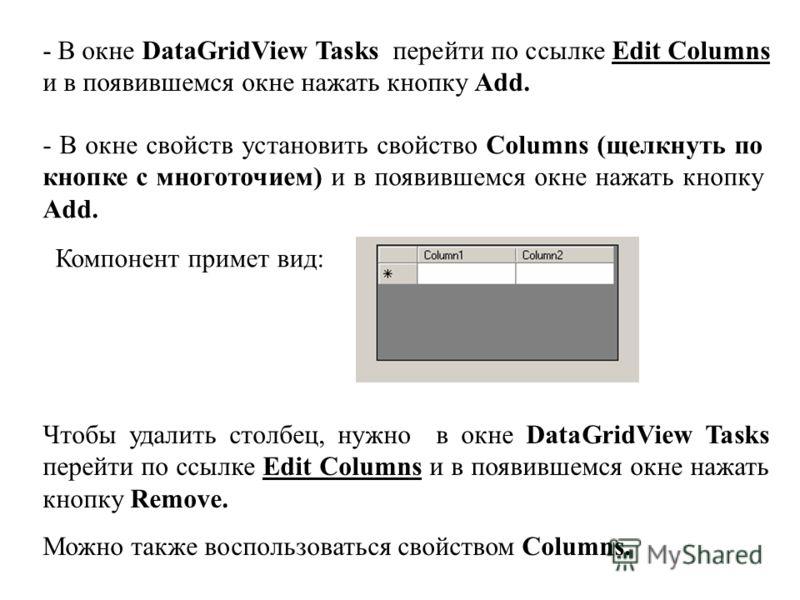 - В окне DataGridView Tasks перейти по ссылке Edit Columns и в появившемся окне нажать кнопку Add. - В окне свойств установить свойство Columns (щелкнуть по кнопке с многоточием) и в появившемся окне нажать кнопку Add. Компонент примет вид: Чтобы уда