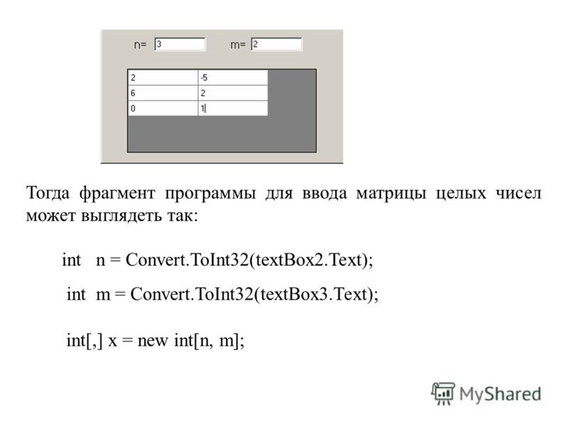 Тогда фрагмент программы для ввода матрицы целых чисел может выглядеть так: int n = Convert.ToInt32(textBox2.Text); int m = Convert.ToInt32(textBox3.Text); int[,] x = new int[n, m];