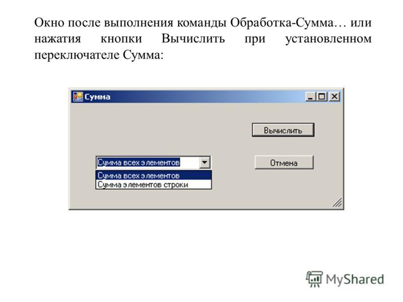 Окно после выполнения команды Обработка-Сумма… или нажатия кнопки Вычислить при установленном переключателе Сумма: