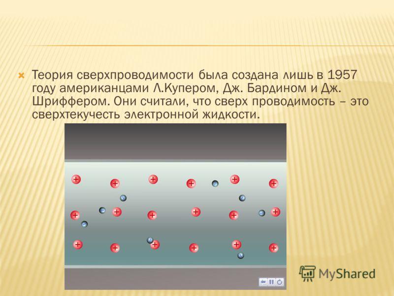 Теория сверхпроводимости была создана лишь в 1957 году американцами Л.Купером, Дж. Бардином и Дж. Шриффером. Они считали, что сверх проводимость – это сверхтекучесть электронной жидкости.