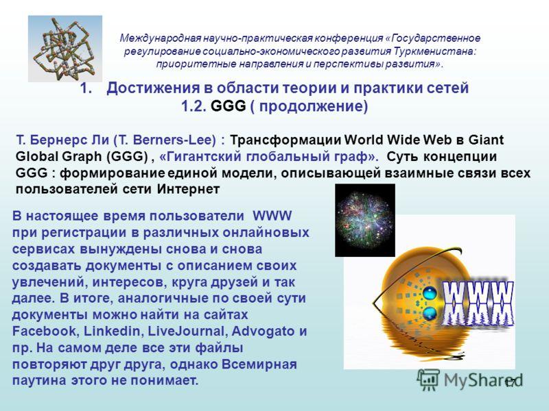 1.Достижения в области теории и практики сетей 1.2. GGG ( продолжение) Т. Бернерс Ли (T. Berners-Lee) : Трансформации World Wide Web в Giant Global Graph (GGG), «Гигантский глобальный граф». Суть концепции GGG : формирование единой модели, описывающе