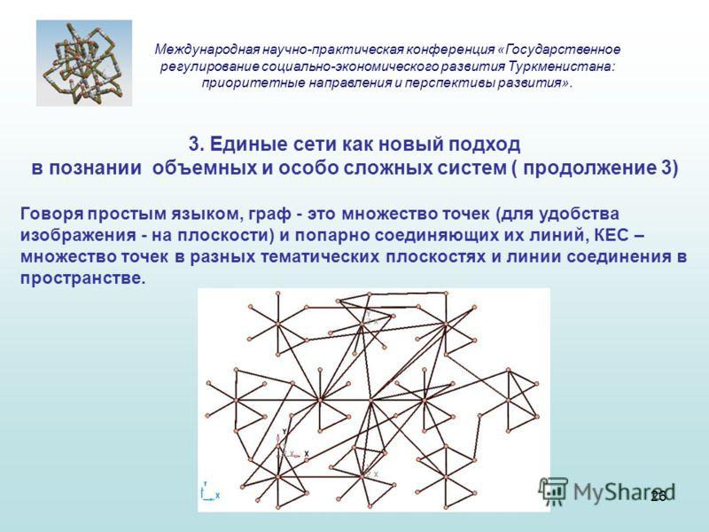 3. Единые сети как новый подход в познании объемных и особо сложных систем ( продолжение 3) Говоря простым языком, граф - это множество точек (для удобства изображения - на плоскости) и попарно соединяющих их линий, КЕС – множество точек в разных тем