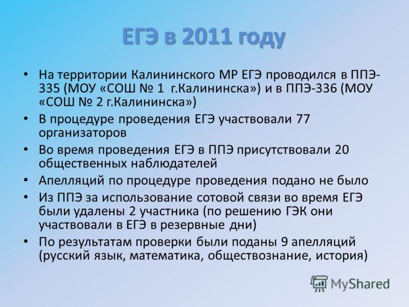 На территории Калининского МР ЕГЭ проводился в ППЭ- 335 (МОУ «СОШ 1 г.Калининска») и в ППЭ-336 (МОУ «СОШ 2 г.Калининска») В процедуре проведения ЕГЭ участвовали 77 организаторов Во время проведения ЕГЭ в ППЭ присутствовали 20 общественных наблюдателе