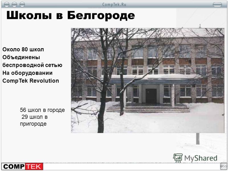 Школы в Белгороде Около 80 школ Объединены беспроводной сетью На оборудовании CompTek Revolution 56 школ в городе 29 школ в пригороде