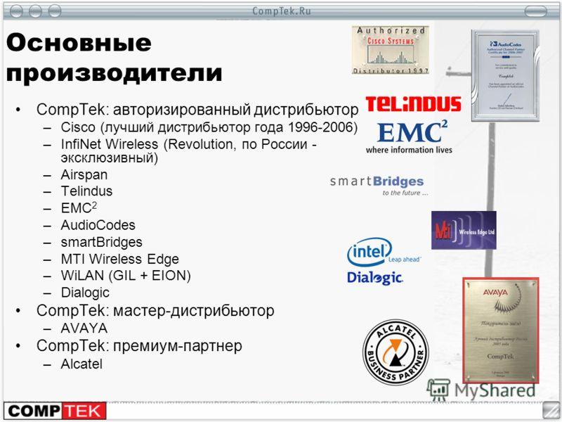 Основные производители CompTek: авторизированный дистрибьютор –Cisco (лучший дистрибьютор года 1996-2006) –InfiNet Wireless (Revolution, по России - эксклюзивный) –Airspan –Telindus –EMC 2 –AudioCodes –smartBridges –MTI Wireless Edge –WiLAN (GIL + EI