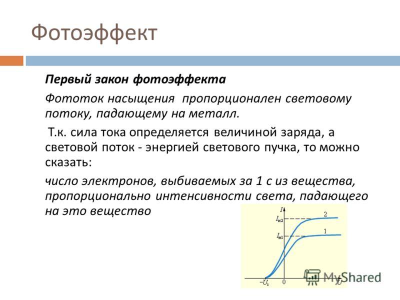 Фотоэффект Первый закон фотоэффекта Фототок насыщения пропорционален световому потоку, падающему на металл. Т. к. сила тока определяется величиной заряда, а световой поток - энергией светового пучка, то можно сказать : число электронов, выбиваемых за
