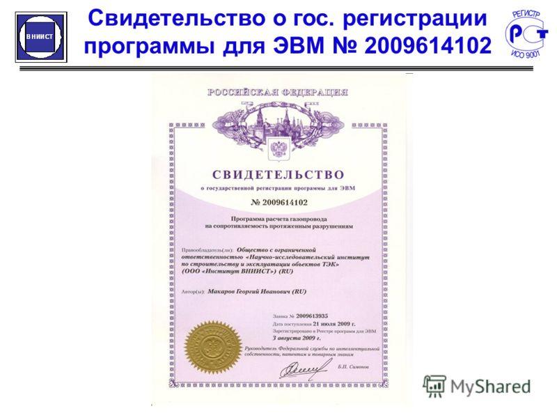 Свидетельство о гос. регистрации программы для ЭВМ 2009614102