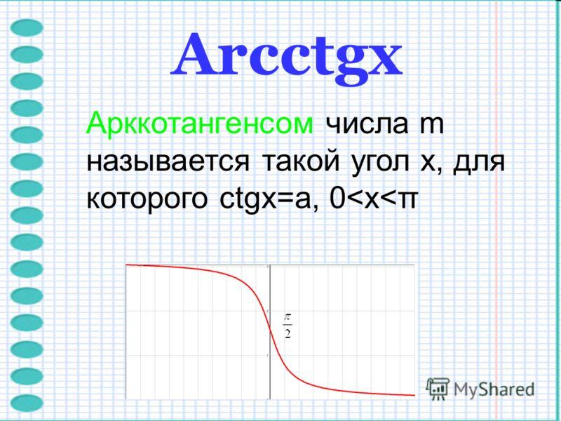 Arcctgх Арккотангенсом числа m называется такой угол x, для которого ctgx=a, 0<x<π
