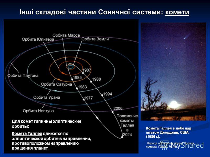 Інші складові частини Сонячної системи: комети Комета Галлея в небе над штатом Джорджия, США. (1986 г.). Период обращения вокруг Солнца кометы Галлея 76 лет, Период обращения вокруг Солнца кометы Галлея 76 лет, Для комет типичны элиптические орбиты: