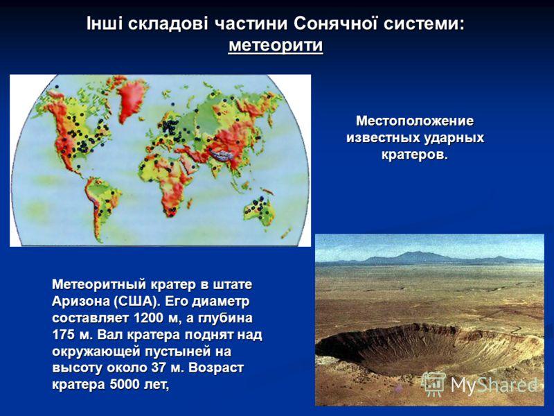 Інші складові частини Сонячної системи: метеорити Местоположение известных ударных кратеров. Метеоритный кратер в штате Аризона (США). Его диаметр составляет 1200 м, а глубина 175 м. Вал кратера поднят над окружающей пустыней на высоту около 37 м. Во