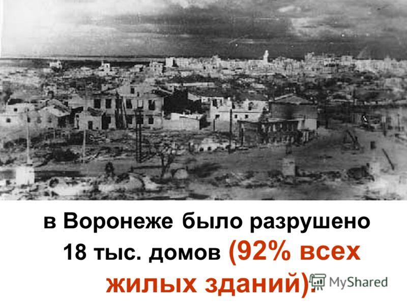 в Воронеже было разрушено 18 тыс. домов (92% всех жилых зданий).