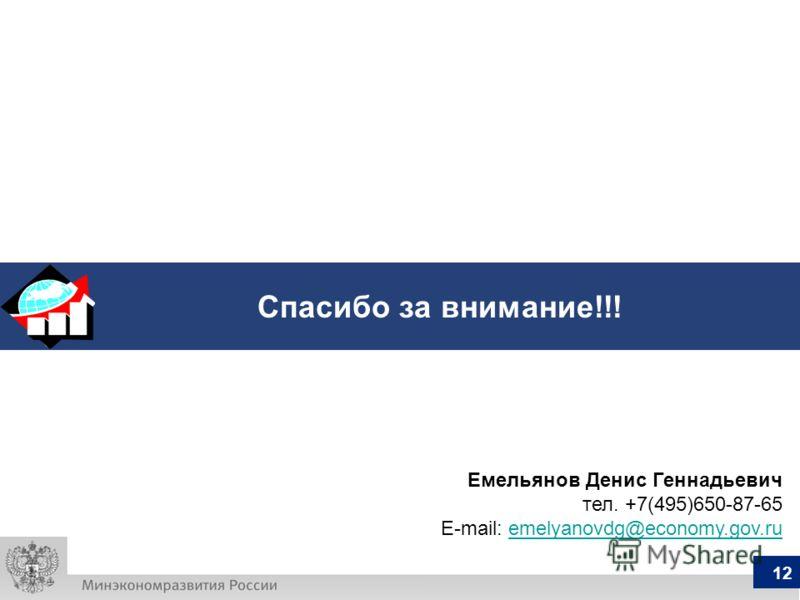 Спасибо за внимание!!! 12 Емельянов Денис Геннадьевич тел. +7(495)650-87-65 E-mail: emelyanovdg@economy.gov.ruemelyanovdg@economy.gov.ru