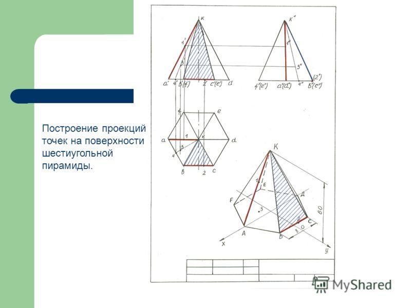 Построение проекций точек на поверхности шестиугольной пирамиды.