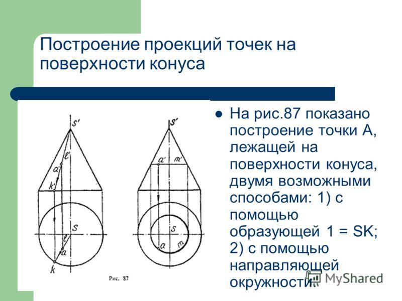 Построение проекций точек на поверхности конуса На рис.87 показано построение точки А, лежащей на поверхности конуса, двумя возможными способами: 1) с помощью образующей 1 = SK; 2) с помощью направляющей окружности.
