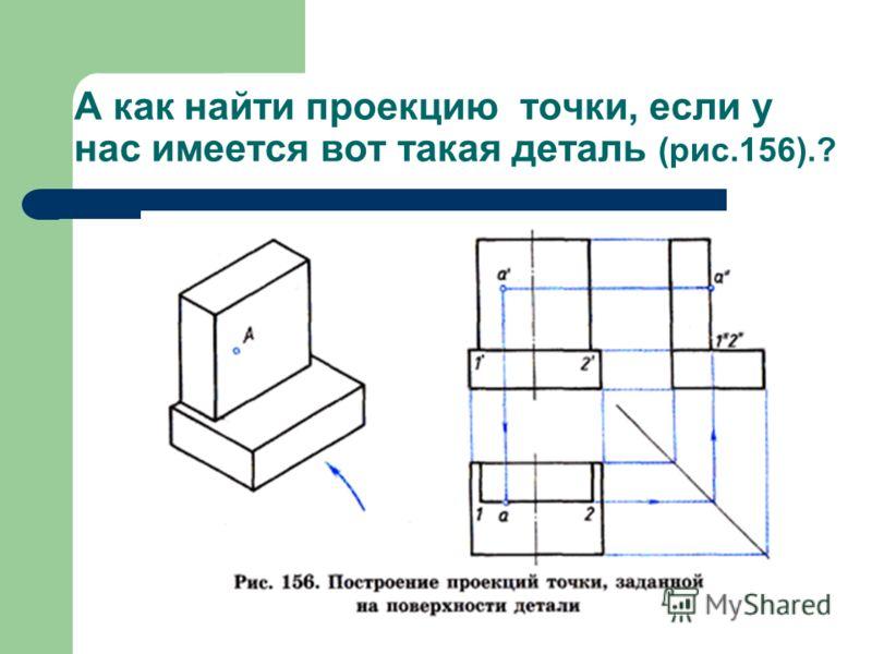 А как найти проекцию точки, если у нас имеется вот такая деталь (рис.156).?