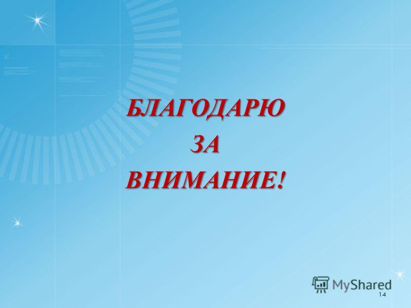 БЛАГОДАРЮЗАВНИМАНИЕ! 14