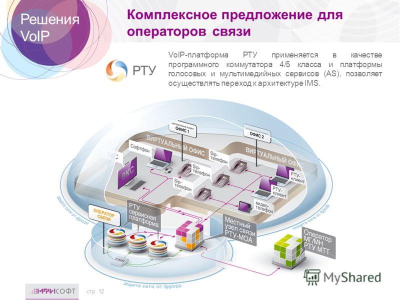 Комплексное предложение для операторов связи стр. 12 Решения VoIP VoIP-платформа РТУ применяется в качестве программного коммутатора 4/5 класса и платформы голосовых и мультимедийных сервисов (AS), позволяет осуществлять переход к архитектуре IMS.