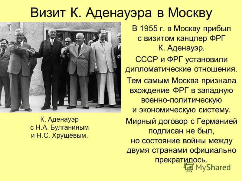 Визит К. Аденауэра в Москву В 1955 г. в Москву прибыл с визитом канцлер ФРГ К. Аденауэр. СССР и ФРГ установили дипломатические отношения. Тем самым Москва признала вхождение ФРГ в западную военно-политическую и экономическую систему. Мирный договор с
