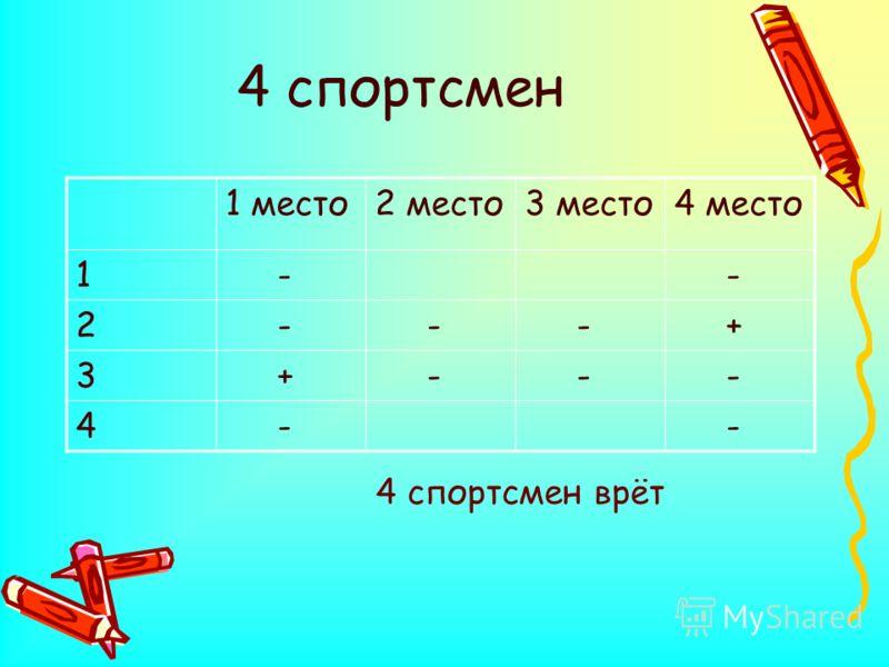 4 спортсмен 4 спортсмен врёт 1 место2 место3 место4 место 1 - - 2 - - - + 3 + - - - 4 - -