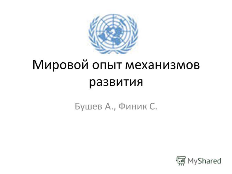 Мировой опыт механизмов развития Бушев А., Финик С.