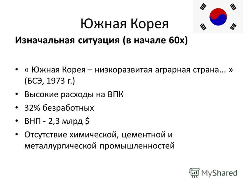 Южная Корея Изначальная ситуация (в начале 60х) « Южная Корея – низкоразвитая аграрная страна... » (БСЭ, 1973 г.) Высокие расходы на ВПК 32% безработных ВНП - 2,3 млрд $ Отсутствие химической, цементной и металлургической промышленностей
