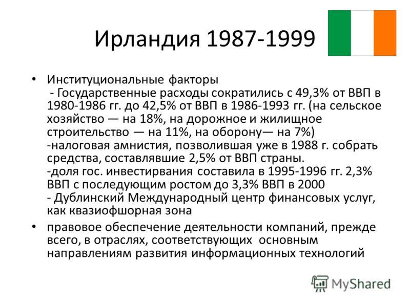 Ирландия 1987-1999 Институциональные факторы - Государственные расходы сократились с 49,3% от ВВП в 1980-1986 гг. до 42,5% от ВВП в 1986-1993 гг. (на сельское хозяйство на 18%, на дорожное и жилищное строительство на 11%, на оборону на 7%) -налоговая