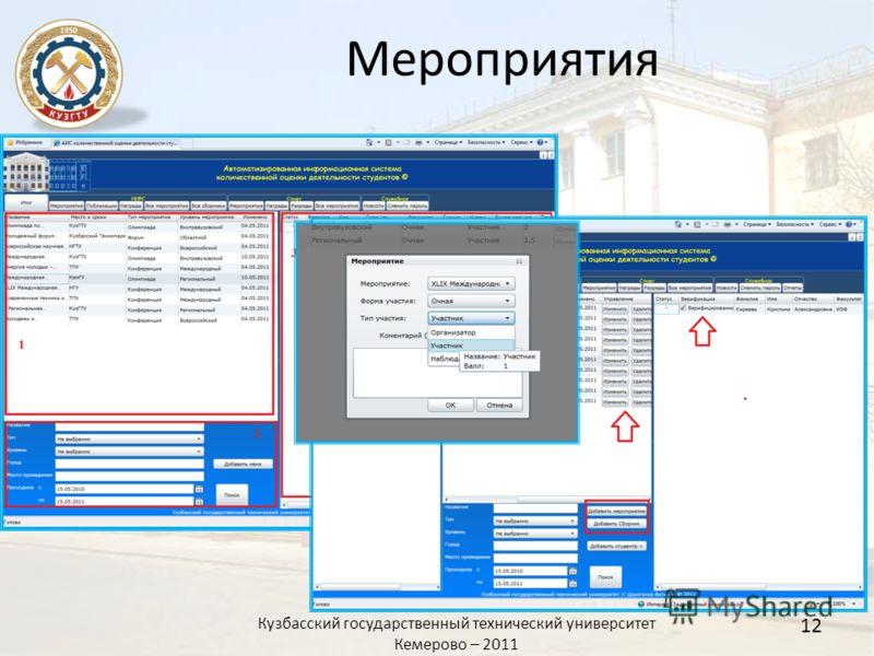 Мероприятия 12 Кузбасский государственный технический университет Кемерово – 2011