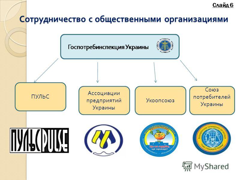 Сотрудничество с общественными организациями Укоопсоюз ПУЛЬС Ассоциации предприятий Украины Союз потребителей Украины Слайд 6