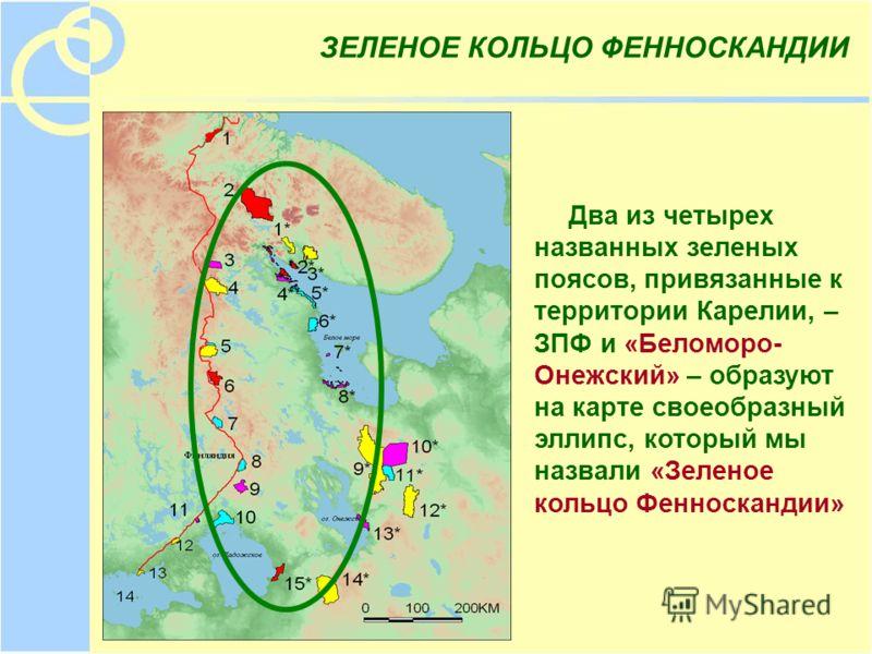 ЗЕЛЕНОЕ КОЛЬЦО ФЕННОСКАНДИИ Два из четырех названных зеленых поясов, привязанные к территории Карелии, – ЗПФ и «Беломоро- Онежский» – образуют на карте своеобразный эллипс, который мы назвали «Зеленое кольцо Фенноскандии»