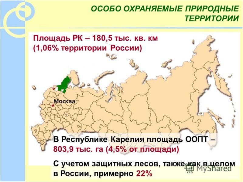 В Республике Карелия площадь ООПТ – 803,9 тыс. га (4,5% от площади) С учетом защитных лесов, также как в целом в России, примерно 22% Площадь РК – 180,5 тыс. кв. км (1,06% территории России) ОСОБО ОХРАНЯЕМЫЕ ПРИРОДНЫЕ ТЕРРИТОРИИ