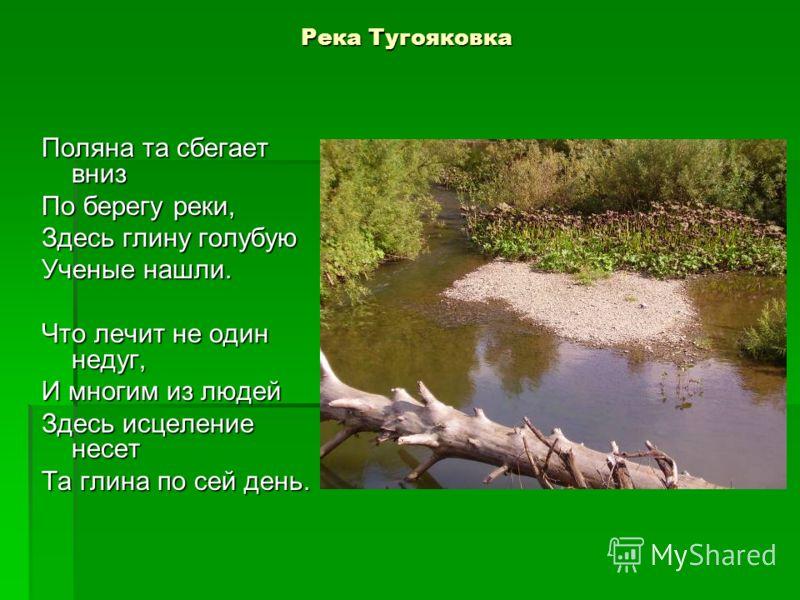 Река Тугояковка Поляна та сбегает вниз По берегу реки, Здесь глину голубую Ученые нашли. Что лечит не один недуг, И многим из людей Здесь исцеление несет Та глина по сей день.