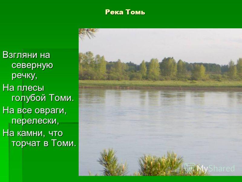 Река Томь Взгляни на северную речку, На плесы голубой Томи. На все овраги, перелески, На камни, что торчат в Томи.