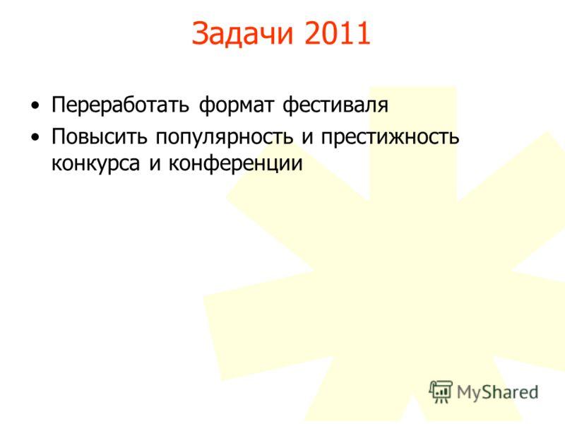 Задачи 2011 Переработать формат фестиваля Повысить популярность и престижность конкурса и конференции