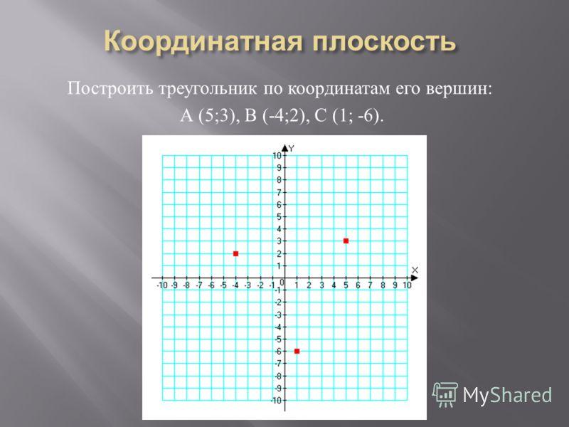 Построить треугольник по координатам его вершин : А (5;3), В (-4;2), С (1; -6).