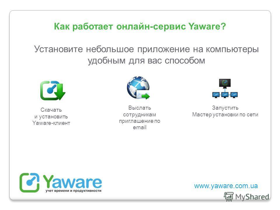 www.yaware.com.ua Как работает онлайн-сервис Yaware? Установите небольшое приложение на компьютеры удобным для вас способом Скачать и установить Yaware-клиент Выслать сотрудникам приглашение по email Запустить Мастер установки по сети