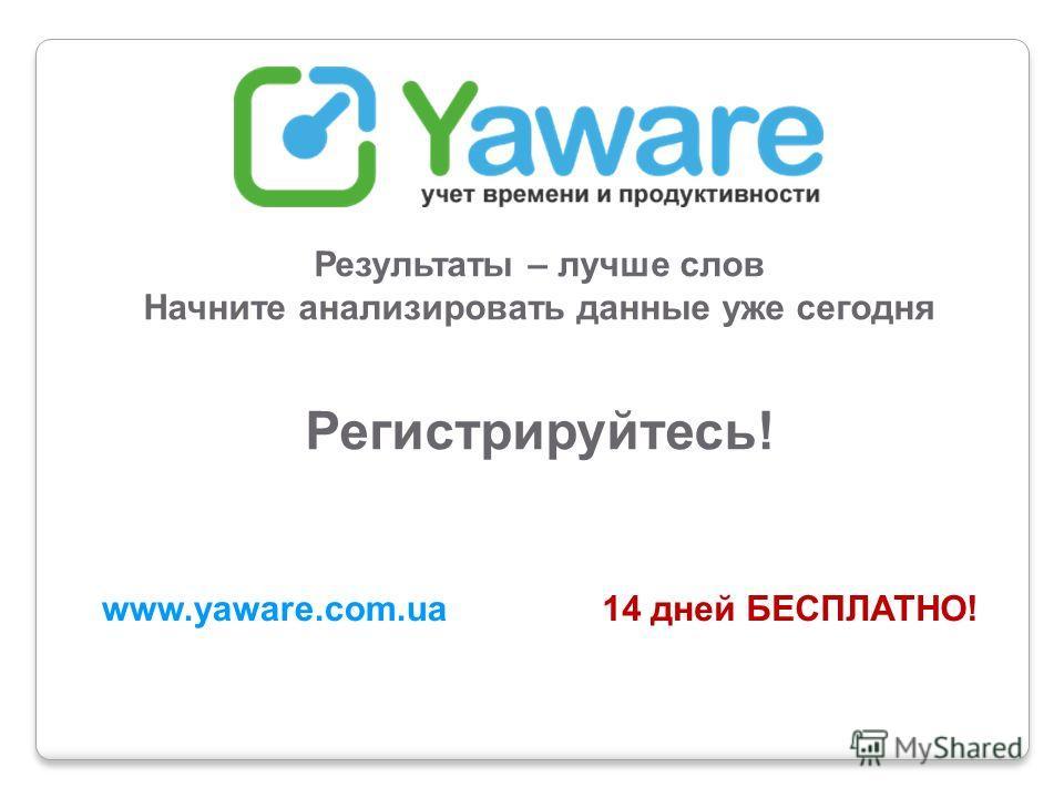 Результаты – лучше слов Начните анализировать данные уже сегодня Регистрируйтесь! www.yaware.com.ua14 дней БЕСПЛАТНО!