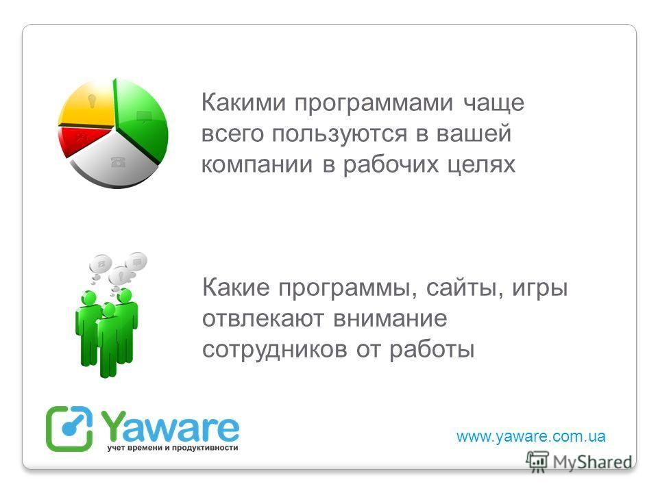 www.yaware.com.ua Какими программами чаще всего пользуются в вашей компании в рабочих целях Какие программы, сайты, игры отвлекают внимание сотрудников от работы
