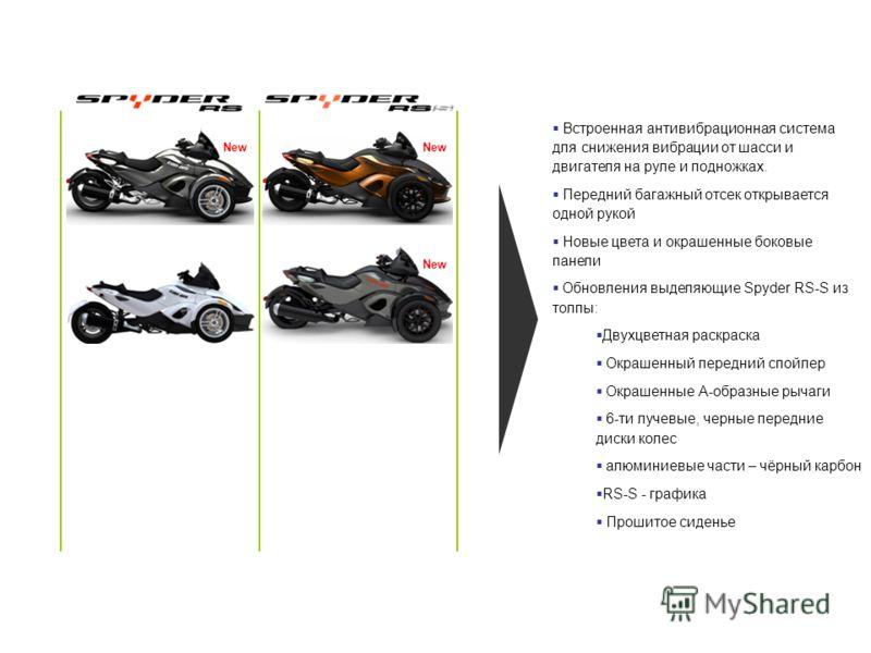 New Встроенная антивибрационная система для снижения вибрации от шасси и двигателя на руле и подножках. Передний багажный отсек открывается одной рукой Новые цвета и окрашенные боковые панели Обновления выделяющие Spyder RS-S из толпы: Двухцветная ра