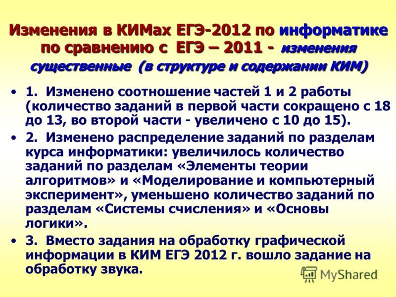 Изменения в КИМах ЕГЭ-2012 по информатике по сравнению с ЕГЭ – 2011 - изменения существенные (в структуре и содержании КИМ) 1. Изменено соотношение частей 1 и 2 работы (количество заданий в первой части сокращено с 18 до 13, во второй части - увеличе