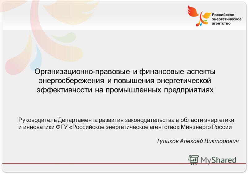 Российское энергетическое агентство 13.08.10 Организационно-правовые и финансовые аспекты энергосбережения и повышения энергетической эффективности на промышленных предприятиях Руководитель Департамента развития законодательства в области энергетики