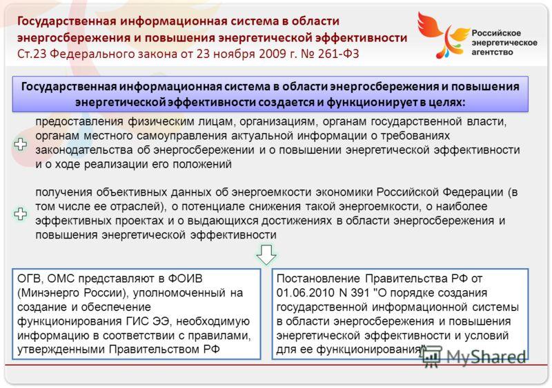 Российское энергетическое агентство Государственная информационная система в области энергосбережения и повышения энергетической эффективности Ст.23 Федерального закона от 23 ноября 2009 г. 261-ФЗ предоставления физическим лицам, организациям, органа