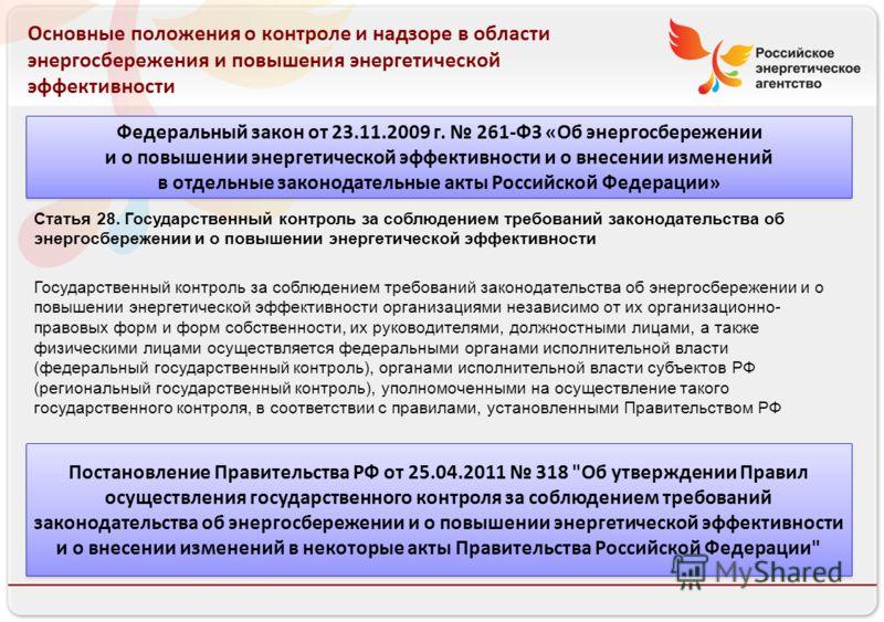 Российское энергетическое агентство Основные положения о контроле и надзоре в области энергосбережения и повышения энергетической эффективности Федеральный закон от 23.11.2009 г. 261-ФЗ «Об энергосбережении и о повышении энергетической эффективности