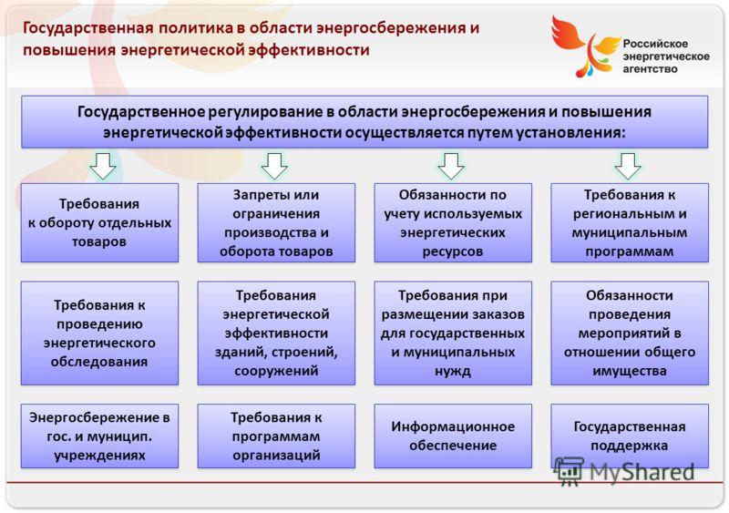 Российское энергетическое агентство Государственная политика в области энергосбережения и повышения энергетической эффективности Государственное регулирование в области энергосбережения и повышения энергетической эффективности осуществляется путем ус