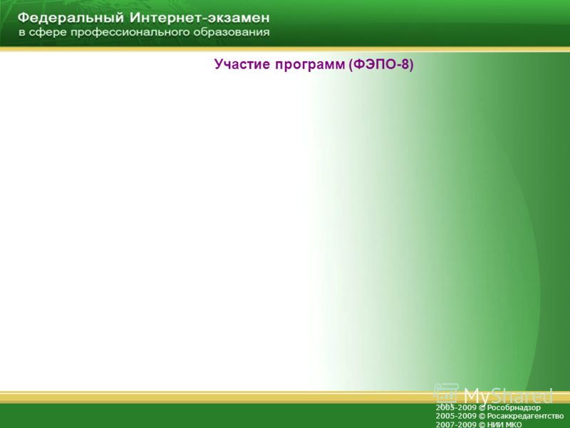 2005-2009 © Рособрнадзор 2005-2009 © Росаккредагентство 2007-2009 © НИИ МКО Участие программ (ФЭПО-8)