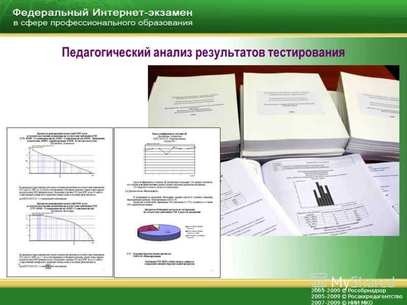 2005-2009 © Рособрнадзор 2005-2009 © Росаккредагентство 2007-2009 © НИИ МКО Педагогический анализ результатов тестирования