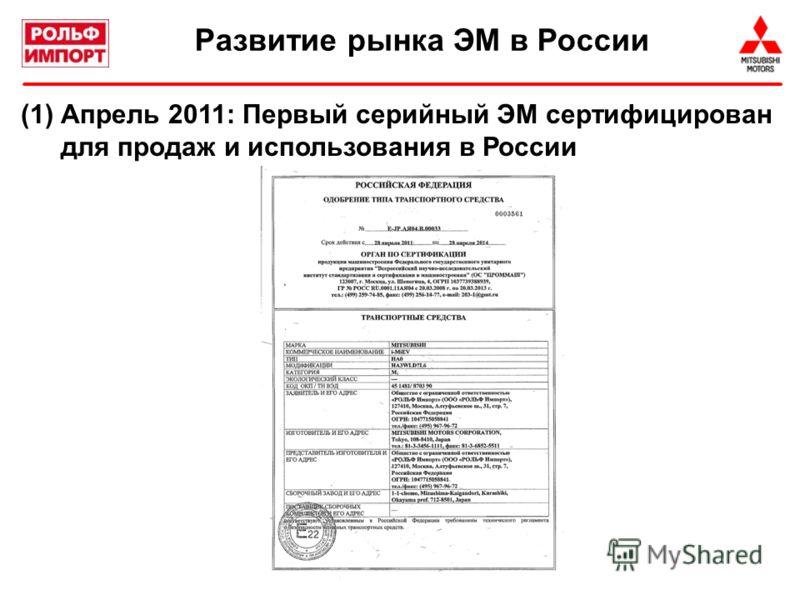 Развитие рынка ЭМ в России (1)Апрель 2011: Первый серийный ЭМ сертифицирован для продаж и использования в России