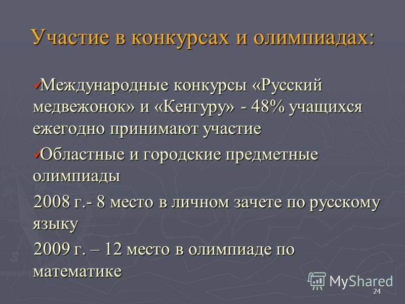 Участие в конкурсах и олимпиадах: Международные конкурсы «Русский медвежонок» и «Кенгуру» - 48% учащихся ежегодно принимают участие Международные конкурсы «Русский медвежонок» и «Кенгуру» - 48% учащихся ежегодно принимают участие Областные и городски